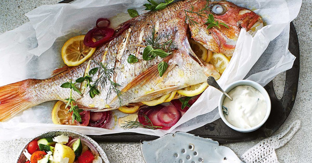 طرز پخت ماهی سرخوی شکم پر
